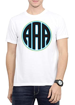 6thCross Mens White Poly CottonRs 499 OR PolyesterRs 325 Monogram T Shirt