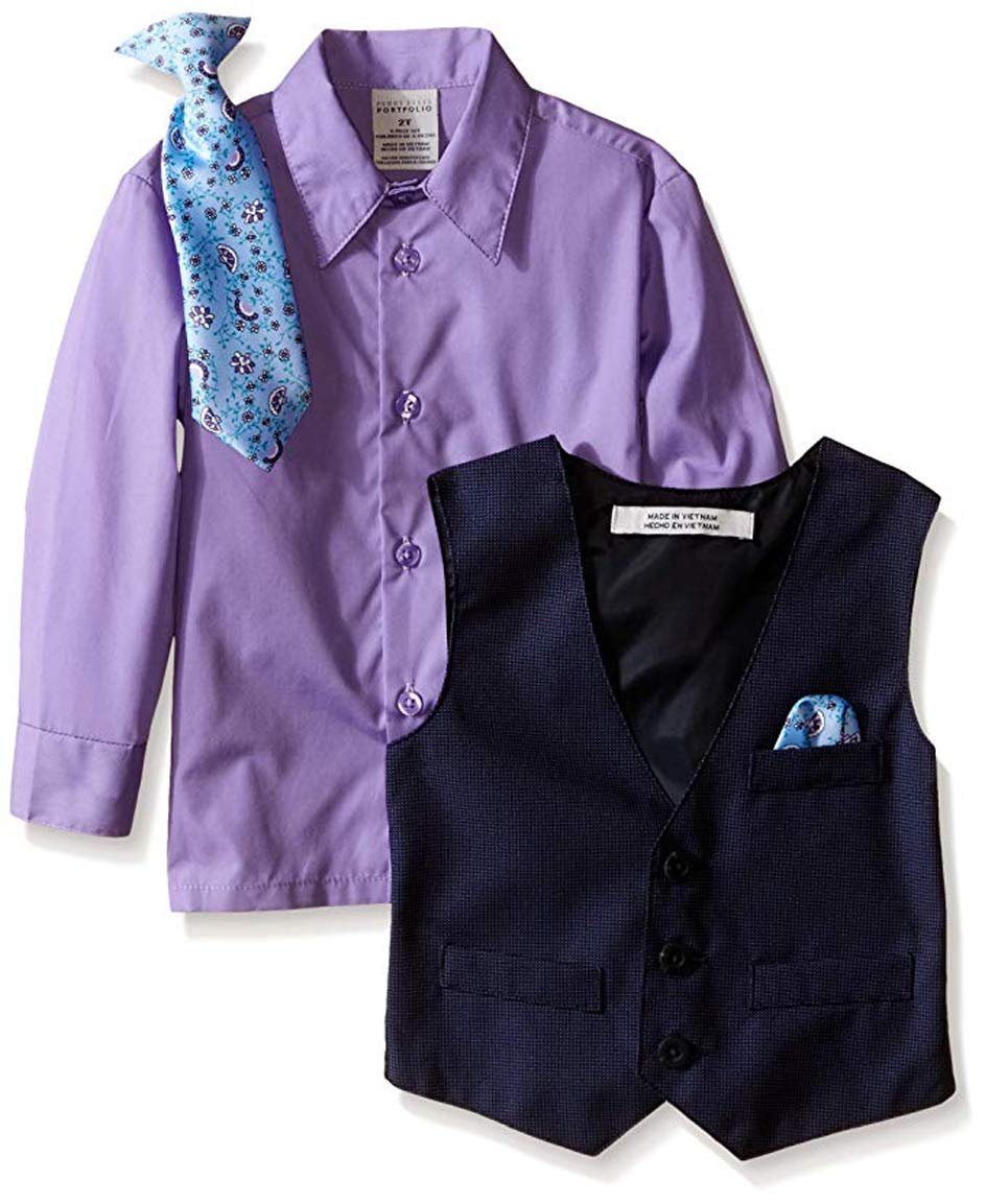 Perry Ellis Little Boys' Fine Pindot Vest Set, Purple Thistle, 5 by Perry Ellis (Image #2)