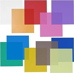 Neewer 12x12 Transparent Color Gel Filter Set Pack of 11 Sheets for Photo Studio Strobe Flashlight(Green, Blue, Purple, Pink, Red, Light Gray, Dark Gray, Yellow, Beige, Fresh Green, Acid Blue)