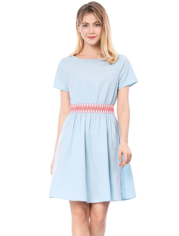 Allegra K Women's Short Sleeve Zigzag Accent Flare Dress