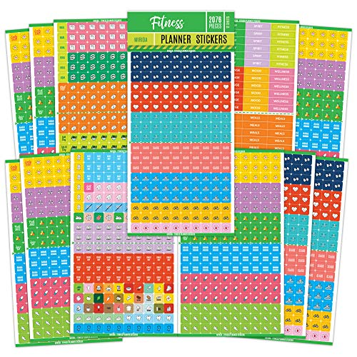 Mirida Planner Stickers - Fitness Pack of 2076 Mini Icons for Workout, Healthy Diet, Gym Exercise, and Habits - for Calendar and Journal