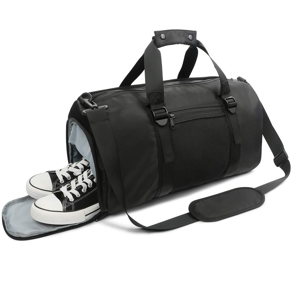 995612a477e Amazon.com   Oflamn Sports Gym Bag with Shoes Compartment Wet Pocket  Lightweight Travel Swim Tennis Duffle (Pink) (Black)   Sports Duffels