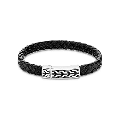 Amazon Com 925 Sterling Silver Bracelet Clasp Leather Chain Braided