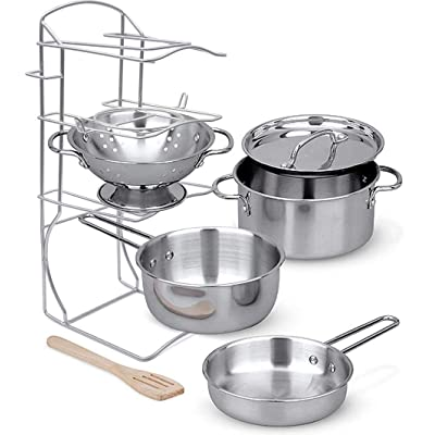 Click N' Play Stainless Steel Cookware Pots and Pans with Pot Rack Organizer and Cooking Utensil Pretend Play Kitchen Set for Kids 7 Pcs. Playset Accessories: Toys & Games
