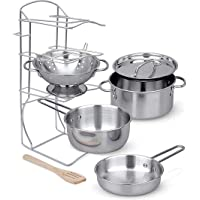Click N' Play Stainless Steel Cookware Pots and Pans with Pot Rack Organizer And Cooking Utensil Pretend Play Kitchen…