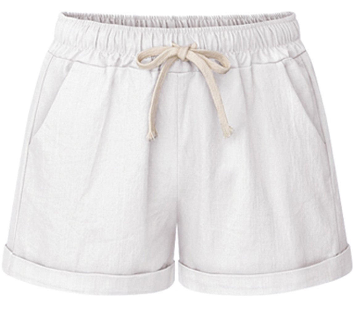 HOW'ON Women's Elastic Waist Casual Comfy Cotton Linen Beach Shorts with Drawstring White L