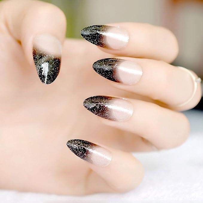 EchiQ - Uñas postizas de color negro con purpurina plateada y punta negra con punta, punta afilada, para uso completo: Amazon.es: Belleza