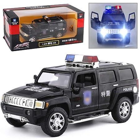 Knmbmg Modelo de Coche 1:24 Hummer H3 Police Car Original ...