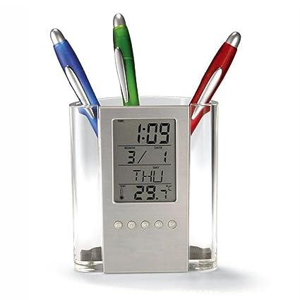 Escritorio perpetuo calendario temperatura LCD reloj despertador soporte para el hogar oficina