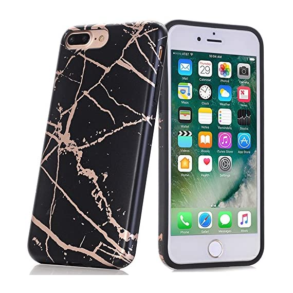 BAISRKE Shiny Rose Gold White Marble Design Clear Bumper Matte TPU Soft Rubber Silicone Cover Phone Case Compatible with iPhone 7 Plus iPhone 8 Plus [5.5 inch] - 61mjJWVhm L - BAISRKE Shiny Rose Gold White Marble Design Clear Bumper Matte TPU Soft Rubber Silicone Cover Phone Case Compatible with iPhone 7 Plus iPhone 8 Plus [5.5 inch]