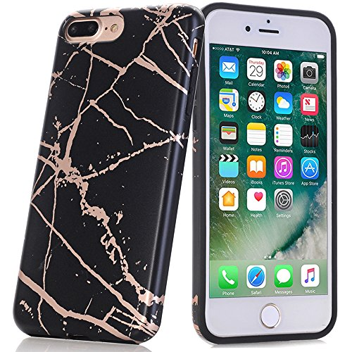 BAISRKE Shiny Rose Gold Black Marble Design Bumper Matte TPU Soft Rubber Silicone Cover Phone Case Compatible iPhone 7 Plus/iPhone 8 Plus [5.5 inch]