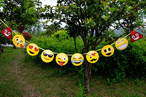 Emoji Banner Emoticon Party Decorations Birthday Snack Decorations Picks Suppliers Party Accessories for Wedding Baby Shower ()