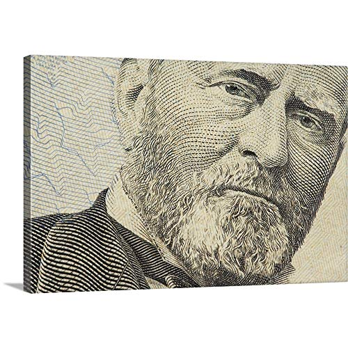 GREATBIGCANVAS Gallery-Wrapped Canvas Entitled Close-up of Ulysses S. Grant on a US Fifty Dollar Bill by 18