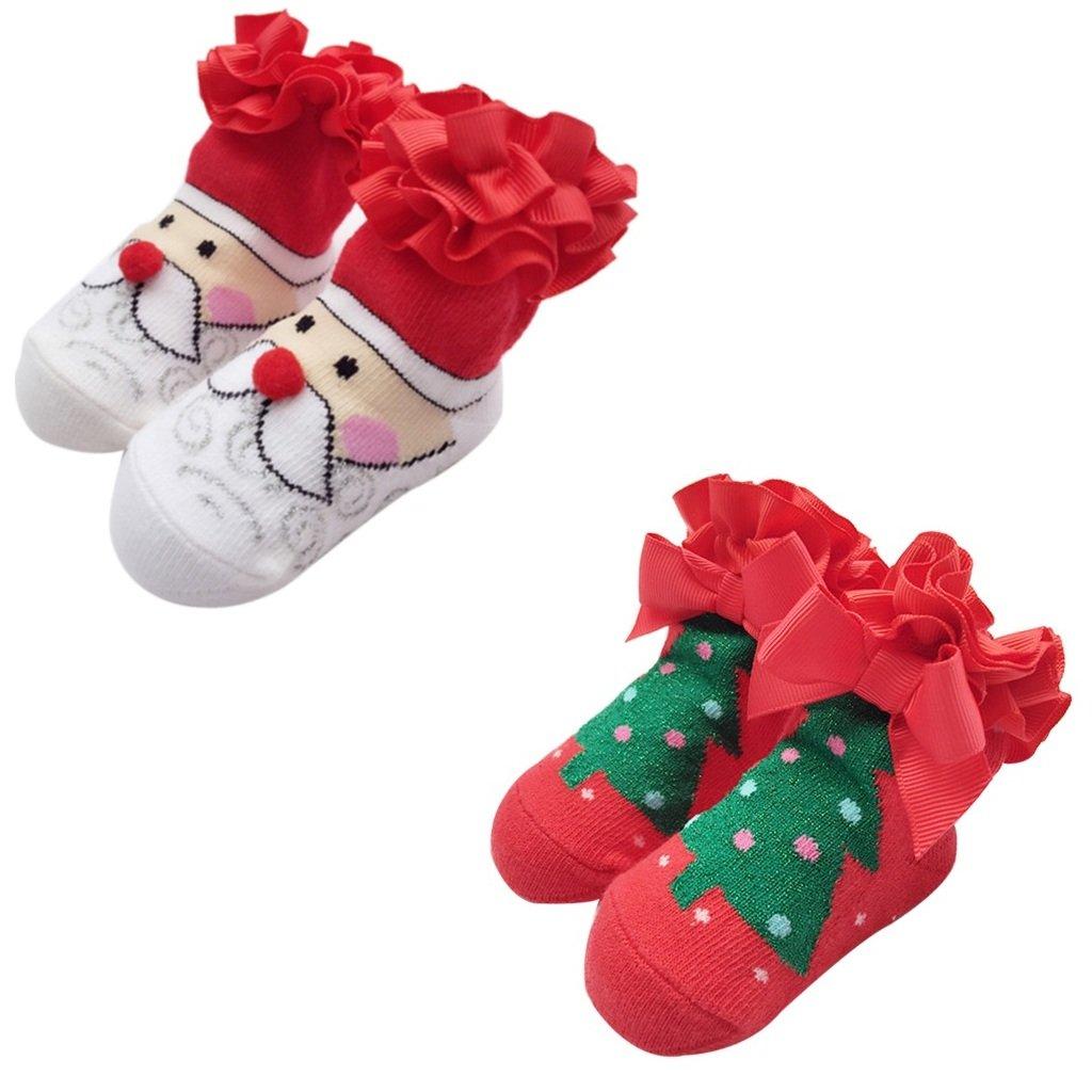 Baby Christmas Socks Infant Socks Christmas Gift for Newborn Cotton 2 Pairs Vine Trading Co. Ltd