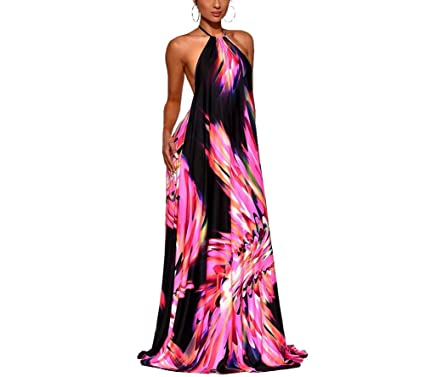 cdd1afd0a5 JUNBOON Women s Sexy Halter Backless Floral Print Bohemian Long Maxi Dress  Red
