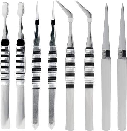 Pack Of 4 Stainless Steel Crafting Tweezers Craft Repair Beading Precision Tools
