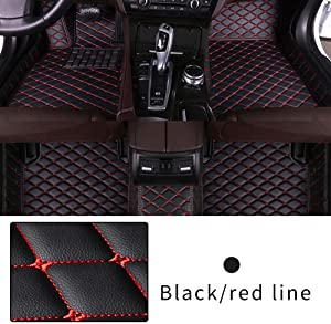 Car Floor Mat Custom Made For Most models Full Coverage Interior Protection Waterproof Non-Slip Leather Mat Black With Red line