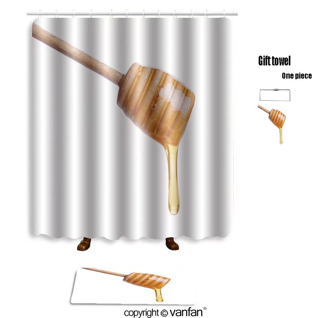 vanfan bath sets with Polyester rugs and shower curtain Honey dripping from wooden stick isolated on shower curtains sets bathroom 36 x 72 inches&23.6 x 15.7 inches(Free 1 towel and 12 hooks)
