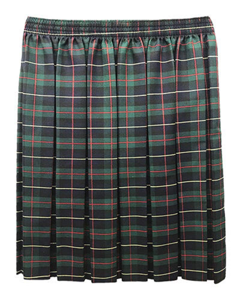 Momo&Ayat Fashion Girls Tartan Check School Casual Box Pleated Skirt Age 2-18 Years (Black/Green, Age 9-10 Years)