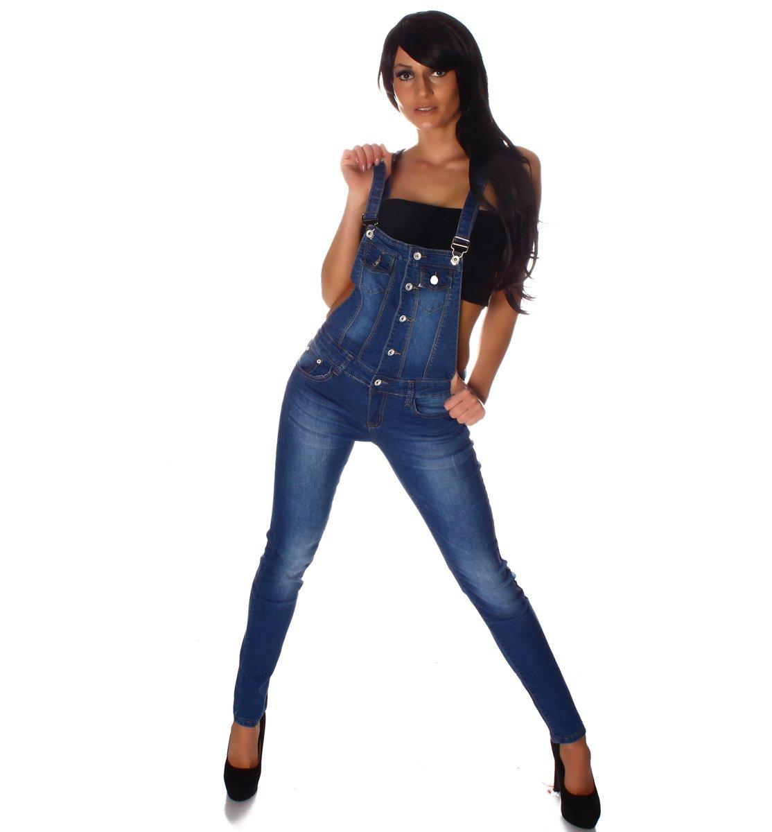 10694 Fashion4Young Damen Latzhose Hose pants mit Träger Röhren Jeans Overall Jeanshose Trägerhose