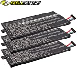 3x Exell Li-Polymer 3.7V Battery Fits TOSHIBA Regza AT1S0, Thrive 7 Tablets Replaces PA3978U-1BRS, PABAS255