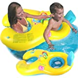 BabyPoolFloat, SafeFloater Mommy and Baby Inflatable Baby Pool Float Toys Raft Play with Seat Dual Swimming Rings