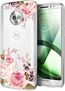 Moto G6 Case, Moto G (6th Generation) Case with Flowers, Ueokeird Slim Shockproof Clear Floral Pattern Soft Flexible TPU Back Phone Protective Cover for otorola Moto G6 5.7 Inch (Rose Flower)