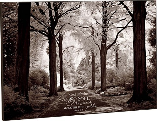 God Refreshes My Soul Black and White Wooded Path 24 x 36 Wood Wall Art Sign Plaque by P Graham Dunn