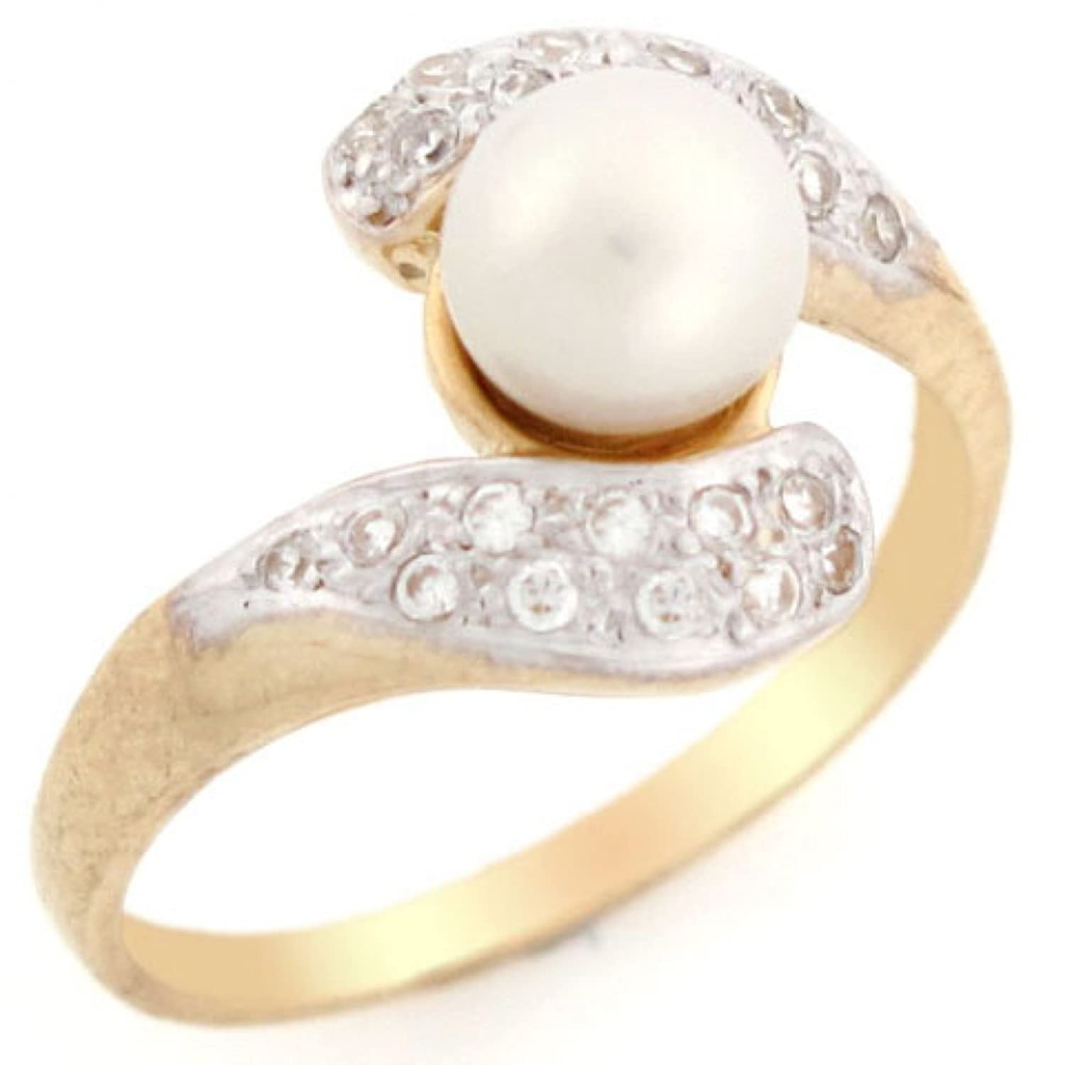 10k Solid Yellow Gold CZ Freshwater Cultured Pearl Perfect for Day & Evening Ring Jewelry