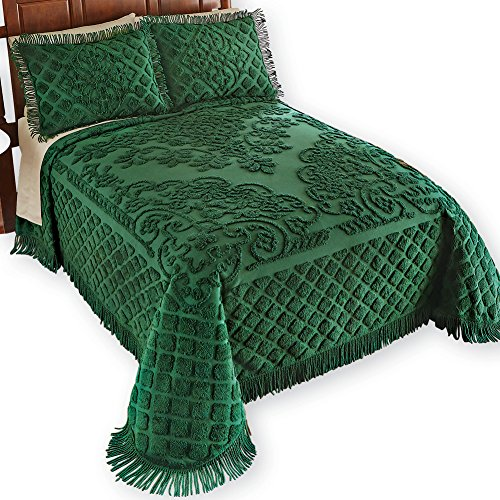 Collections Etc Royalty Elegant Chenille Bedspread, Emerald, Queen