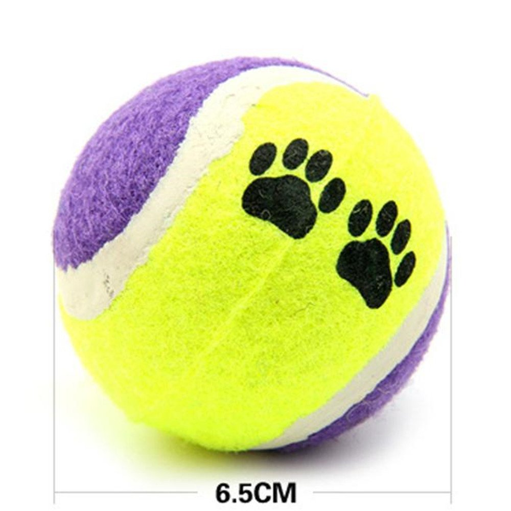 FTXJ 1PCS Pet Dog Cat Toy Vogue Tennis Balls Run Catch Throw Play Funny Chew Pets Toys (6.5cm, random)