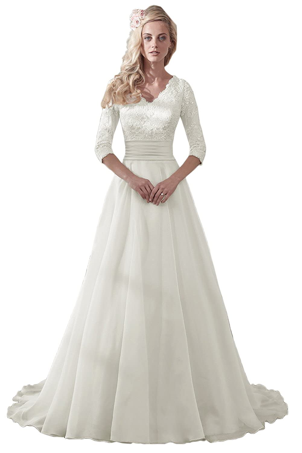 1940s Style Wedding Dresses | Classic Wedding Dresses MILANO BRIDE Modest Wedding Dress For Bride V-Neck Sleeves Organza Floral Lace $146.69 AT vintagedancer.com