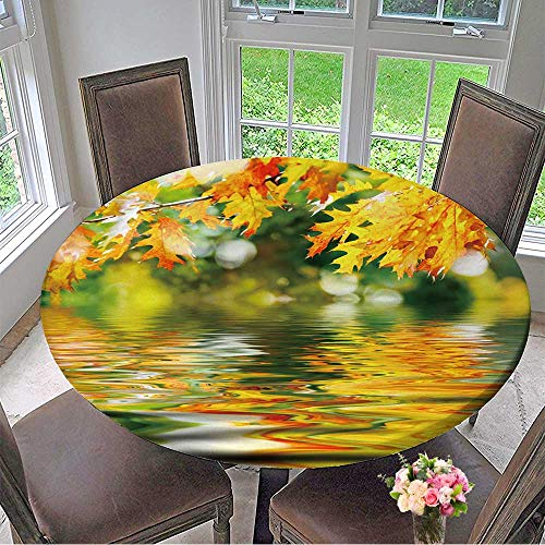 Mikihome Round Tablecloths Colorful Autumn Leaves Reflecting in The Water or Everyday Dinner, Parties 63