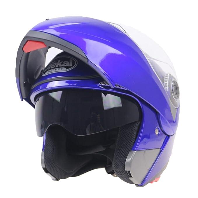 WKAIJCI Motocicletas Cascos Todo Cubierto Revelador Casco De Cara Completa Coche De Batería Lentes Duales,B-M: Amazon.es: Hogar