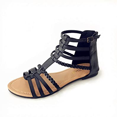 ce1255477 Image Unavailable. Image not available for. Color  MUDAN Womens Buckle Zip  Thong Gladiator Sandal ...