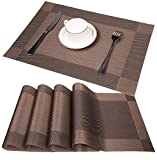 famibay PVC Place Mats - Heat Insulation PVC Placemats Stain-Resistant Woven Crossweave Vinyl Table Mats for Kitchen Set of 4-30x45 cm (Rose-red)