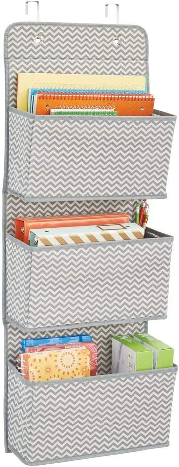 mDesign Soft Fabric Wall Mount/Over Door Hanging Storage Organizer - 3 Large Cascading Pockets - Holds Office Supplies, Planners, File Folders, Notebooks - Chevron Zig-Zag Print - Gray/Cream