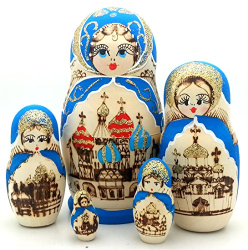 (Russian Church Nesting dolls Wood Burned Hand Carved Hand Painted 5 piece DOLL Set / 6