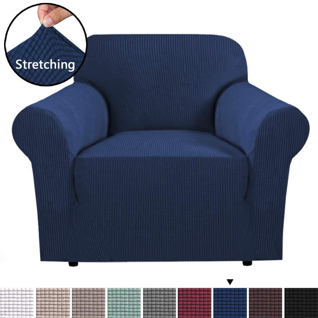 H.VERSAILTEX ストレッチソファースリップカバー 1枚 ライクラジャカードスパンデックス カウチカバー 洗濯機洗い可 マルチカラー サイズ Chair ブルー HVSOFA1P1NAVY Chair ネイビー B07MCXPKFP