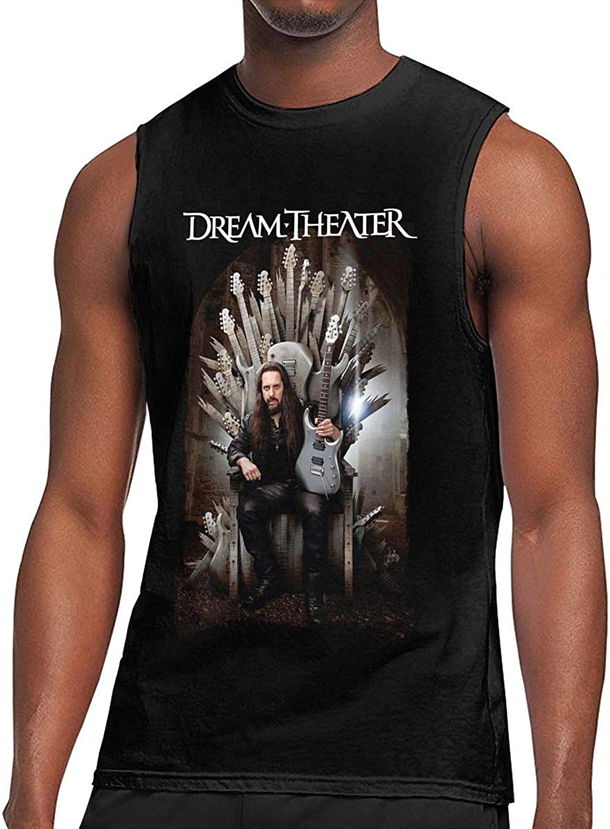 Welikee Camiseta, Manga Corta, Dream Theater T Shirt Men's Training Tank Top Sleeveless Cotton Shirt