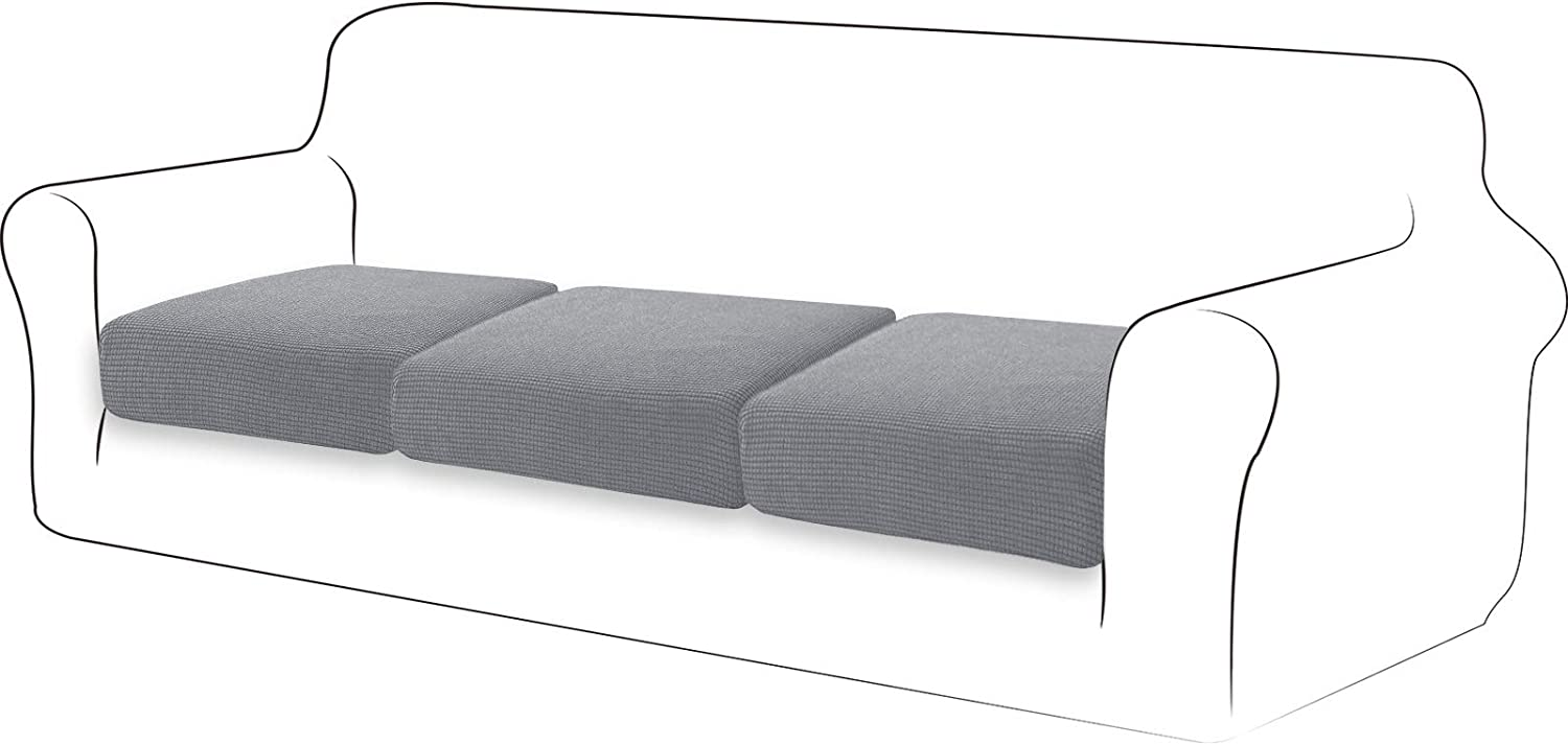 TIANSHU High Stretch Cushion Cover Sofa Cushion Slipcover Furniture Protector Sofa Seat Cover for Couch 3-Piece Cushions Covers for Sofa, Light Gray