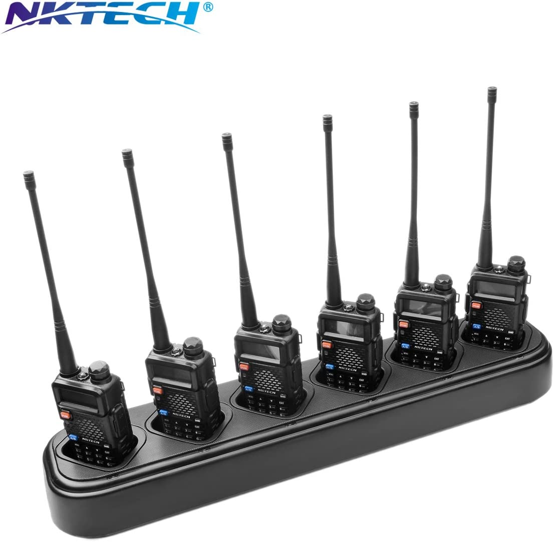 NKTECH 6-Way Universal Rapid Multi Charger For Pofung BaoFeng UV-5R Plus UV-5RA UV-5RB UV-5RE BF-F8HP UV-5RTP TYT TH-F8 Two Way Radio Li-ion Batteries Accessories 10-Pack-Black