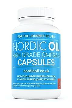 Nordic Oil Omega 3 Fischöl 1000 mg, 60 Kapseln– 100% GELD-ZURÜCK-GARANTIE – Maximale Stärke und Aufnahmefähigkeit – Hergestel