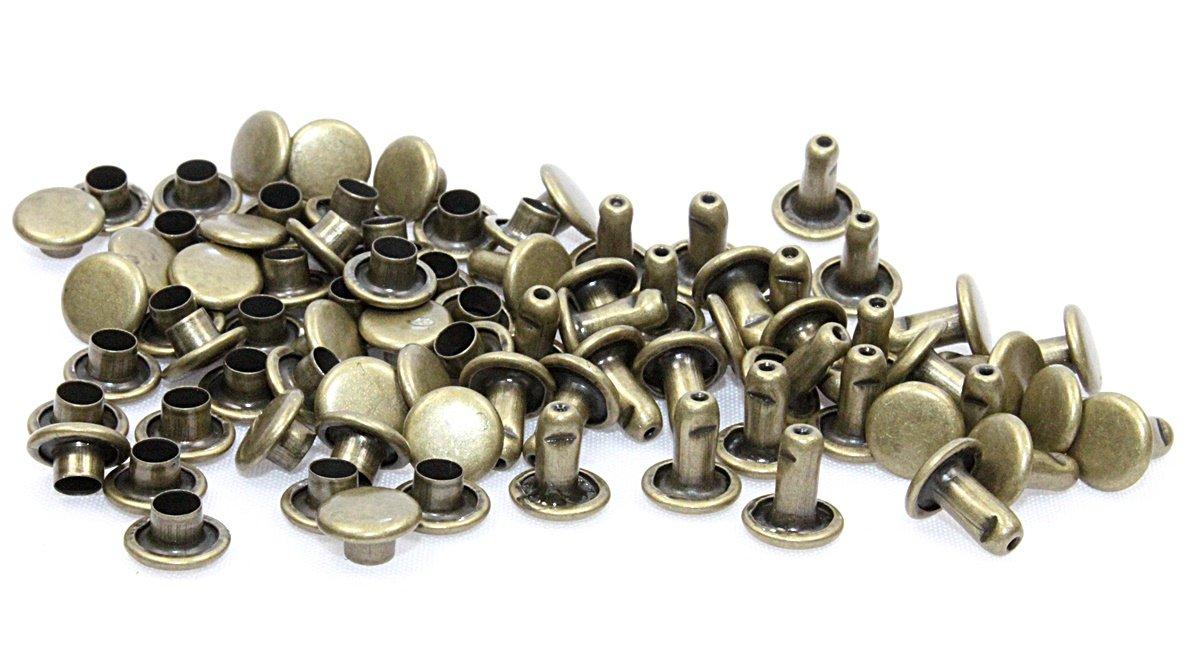 Doppelniete-Nieten-Ziernieten 7, 0x8, 0mm Eisen Altmessing. 100 Komplette Nieten. SoSt-Shop