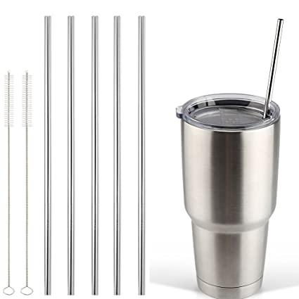 342495bbbb5 Accmor 18/8 Stainless Steel Straws, FDA-approved Durable Reusable Metal  10.5inch Extra Long Straight Drinking Straws Set of 5 – for 20 & 30OZ YETI  ...