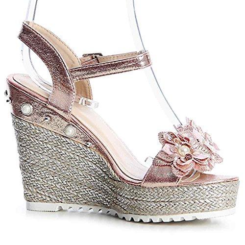 Sandalettes Or Femmes Rose Sandales 824 topschuhe24 q0fpHOn