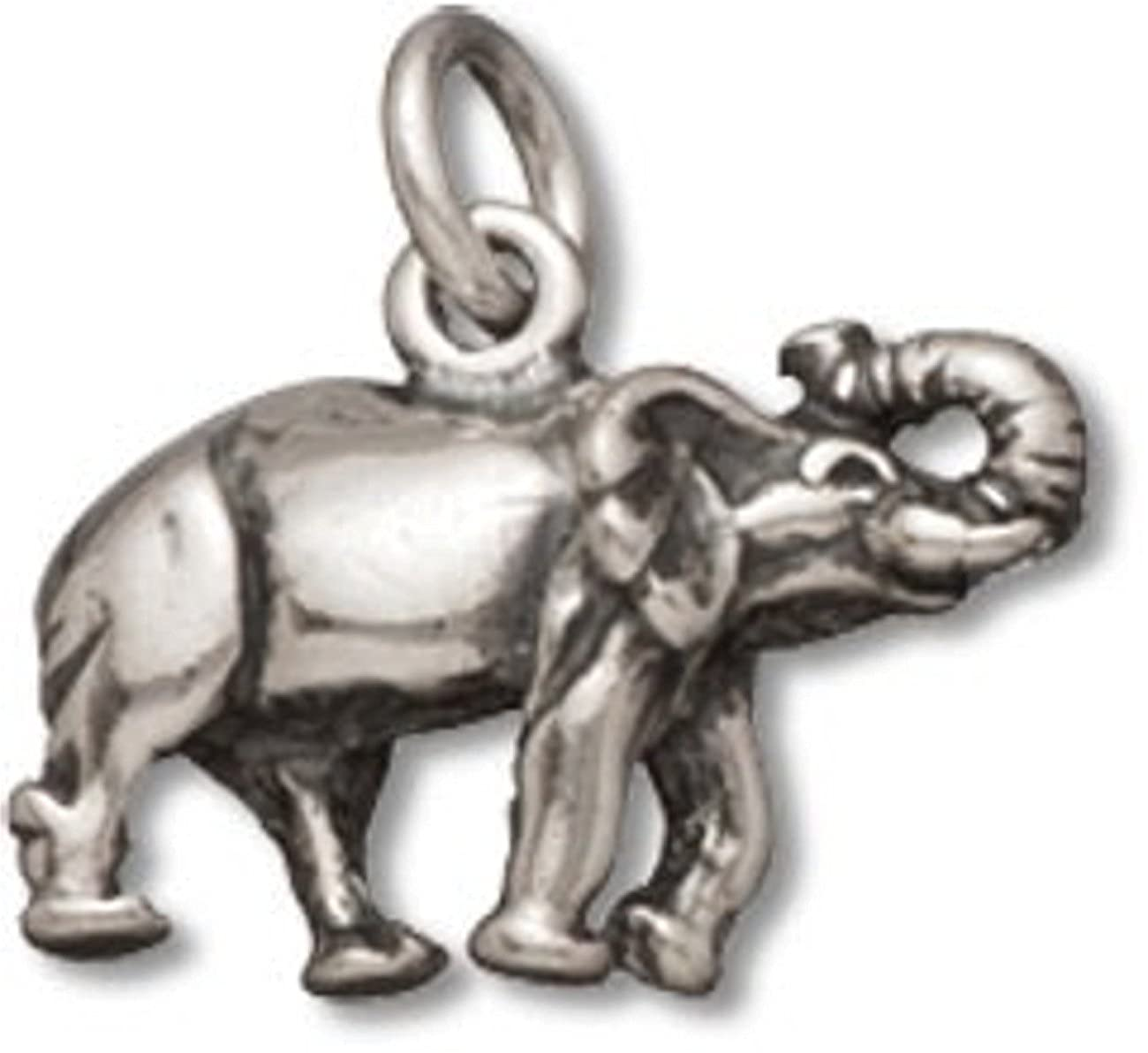 Sterling Silver 7 4.5mm Charm Bracelet With Attached 3D Walking Elephant Charm