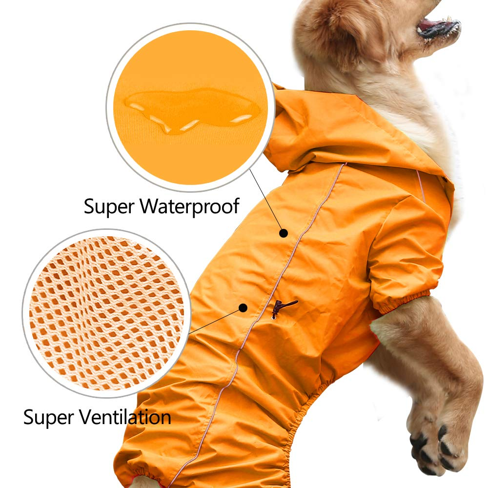 EVELOVE Large Dog Rain Jacket Poncho Waterproof Clothes with Hood Dog Raincoat with Safe Reflective Stripes for Small Medium Large Pet (XXL, Orange) by EVELOVE (Image #2)