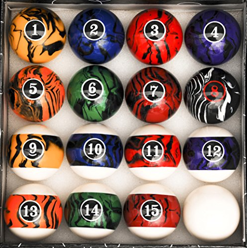 - Pool Table Billiard Ball Set, Dark Color Marble Swirl