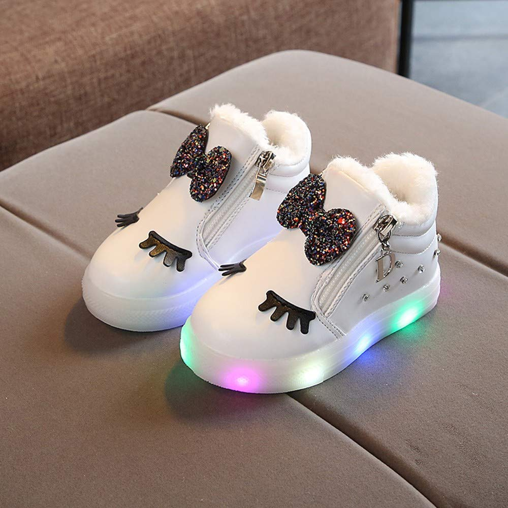 Girls Bowknot Crystal Led Luminous Boots Sport Sneaker Shoes: Shoes